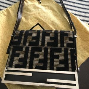 FENDI VELVET PURSE DARK BROWN LEATHER FF LOGO